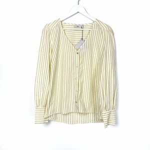 NWT Minimum Yellow and White Striped Button Up Top